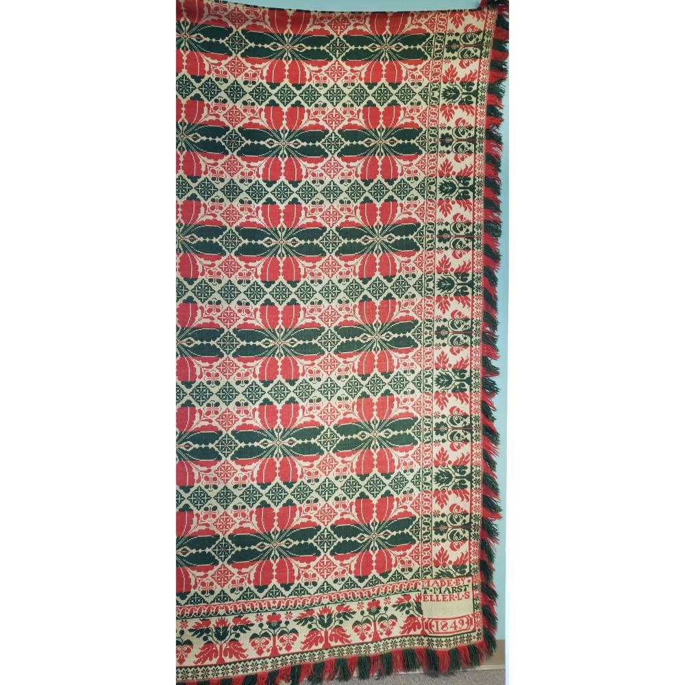 """1849 Multi Colored Coverlet 78"""" x 100"""""""