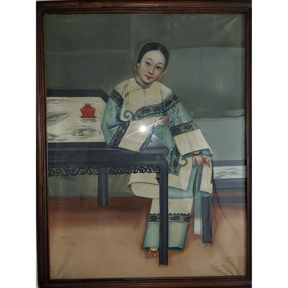 Antique Chinese Export Painting Portrait Of A Woman in a Rosewood