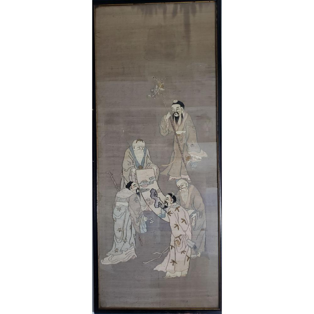 Chinese Scroll Painting Of Elders / Gold Embroidery.