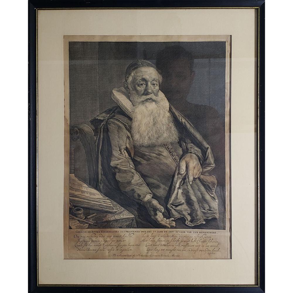 Antique Engraving Portrait Cornelis Visscher 1619-1658.