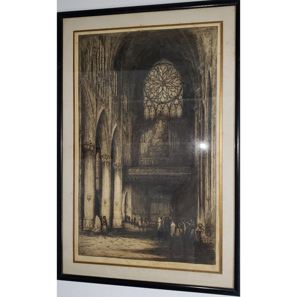 Antique Interior Engraving Signed U Randolph? 1918 Arthur H Hahlo.