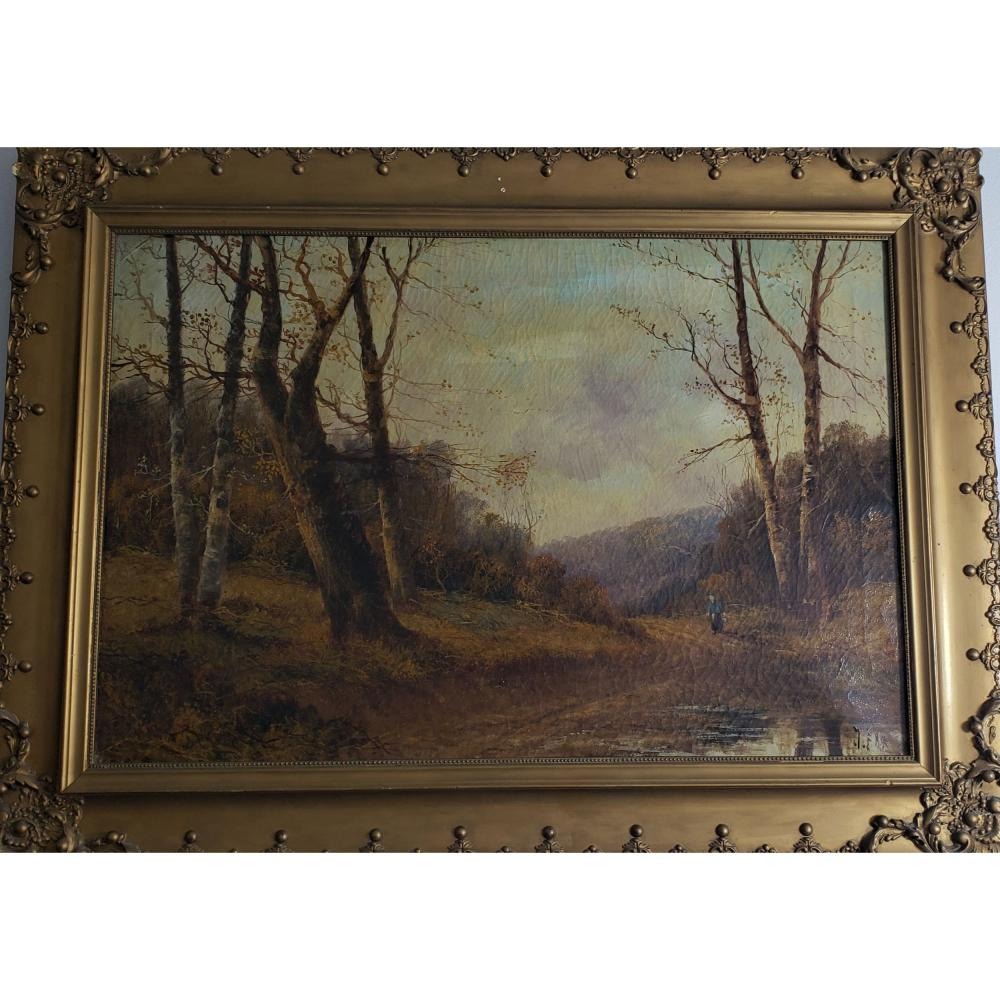 Signed John S Fox 1860-1939 Landscape Painting with Figure