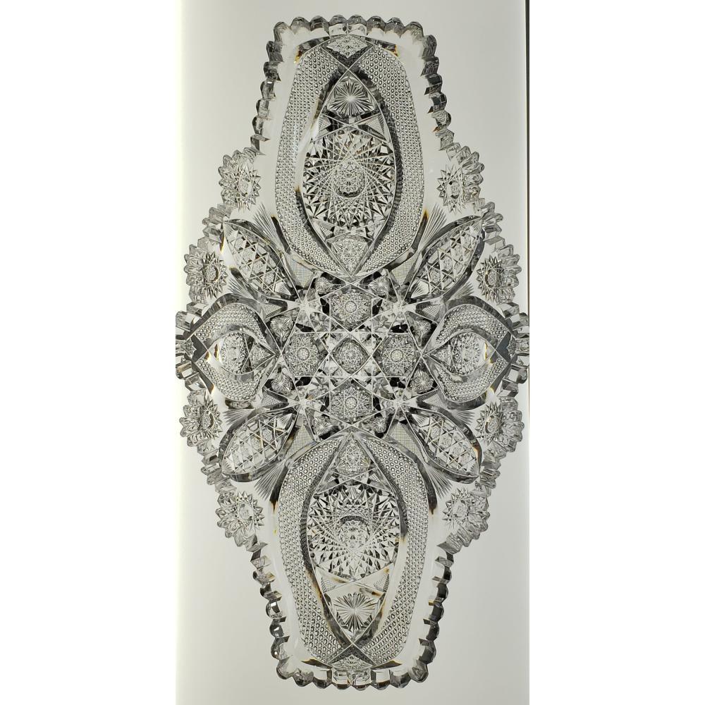 American Brilliant Period Cut Glass Ice Cream Tray with incredible GEOMETRIC cut pattern