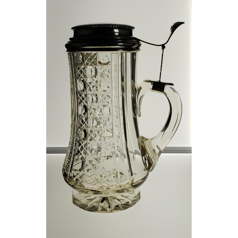 American Brilliant Period Cut Glass Beer Stein Sterling Silver Top with hallmark.