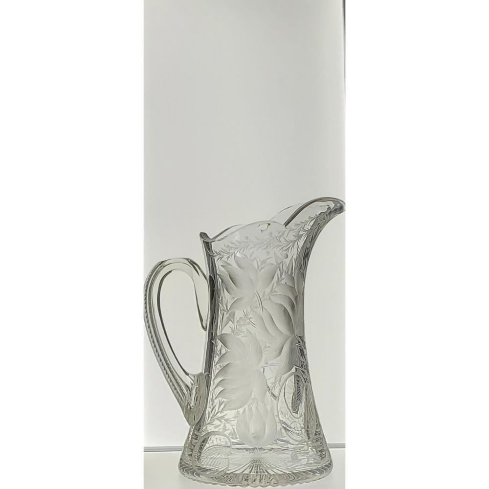 """American Brilliant Period Hawkes Gravic Pitcher w/ Engravings 19th c . Measures 10.5"""" Tall"""