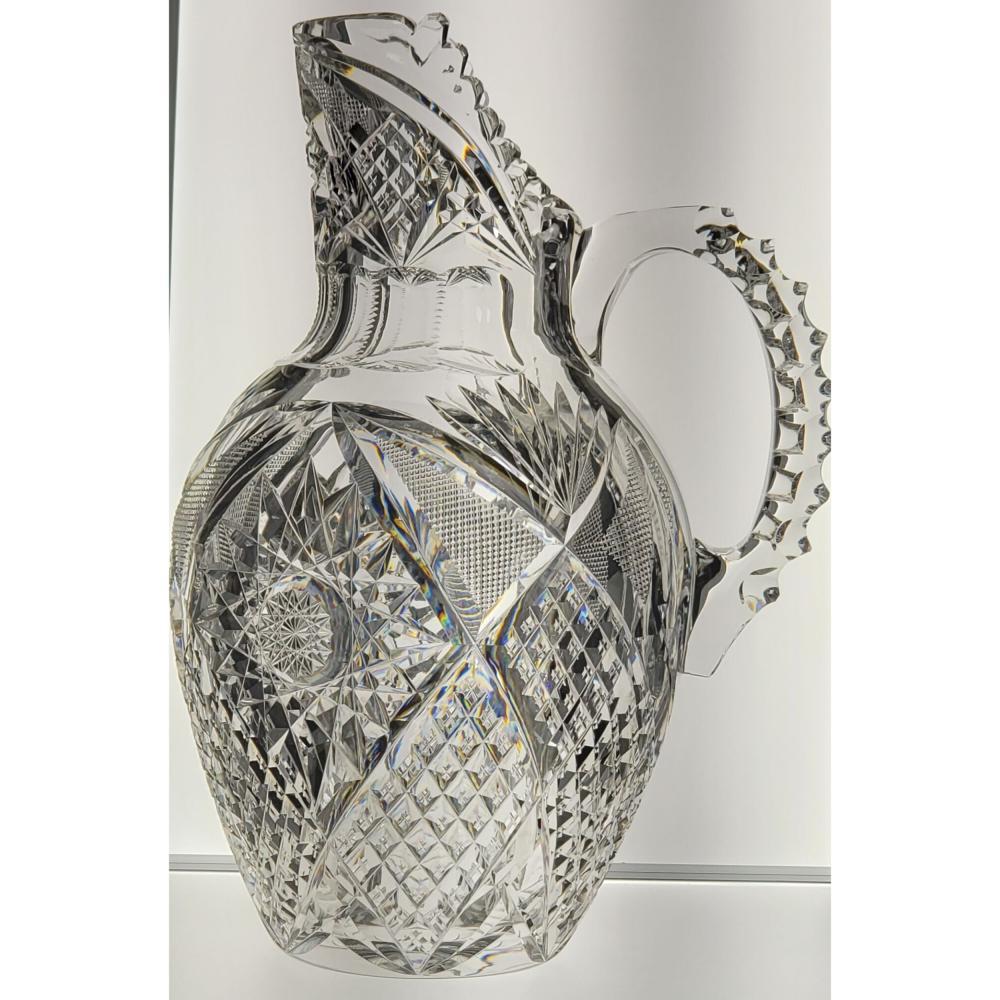 American Brilliant Pd Signed Libbey Cut Glass Pitcher Corinthian Pattern