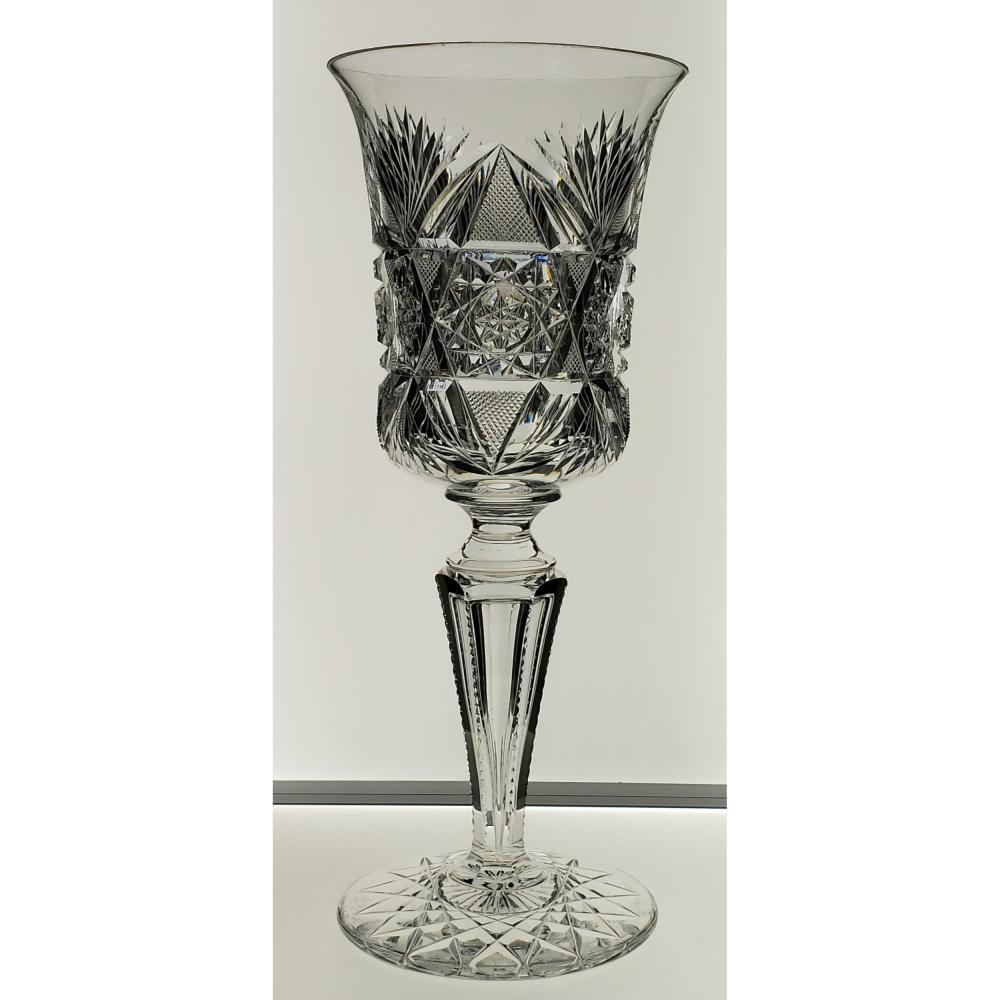 "American Brilliant Period Bergen Cut Glass Chalice. Measures 10"" Tall"
