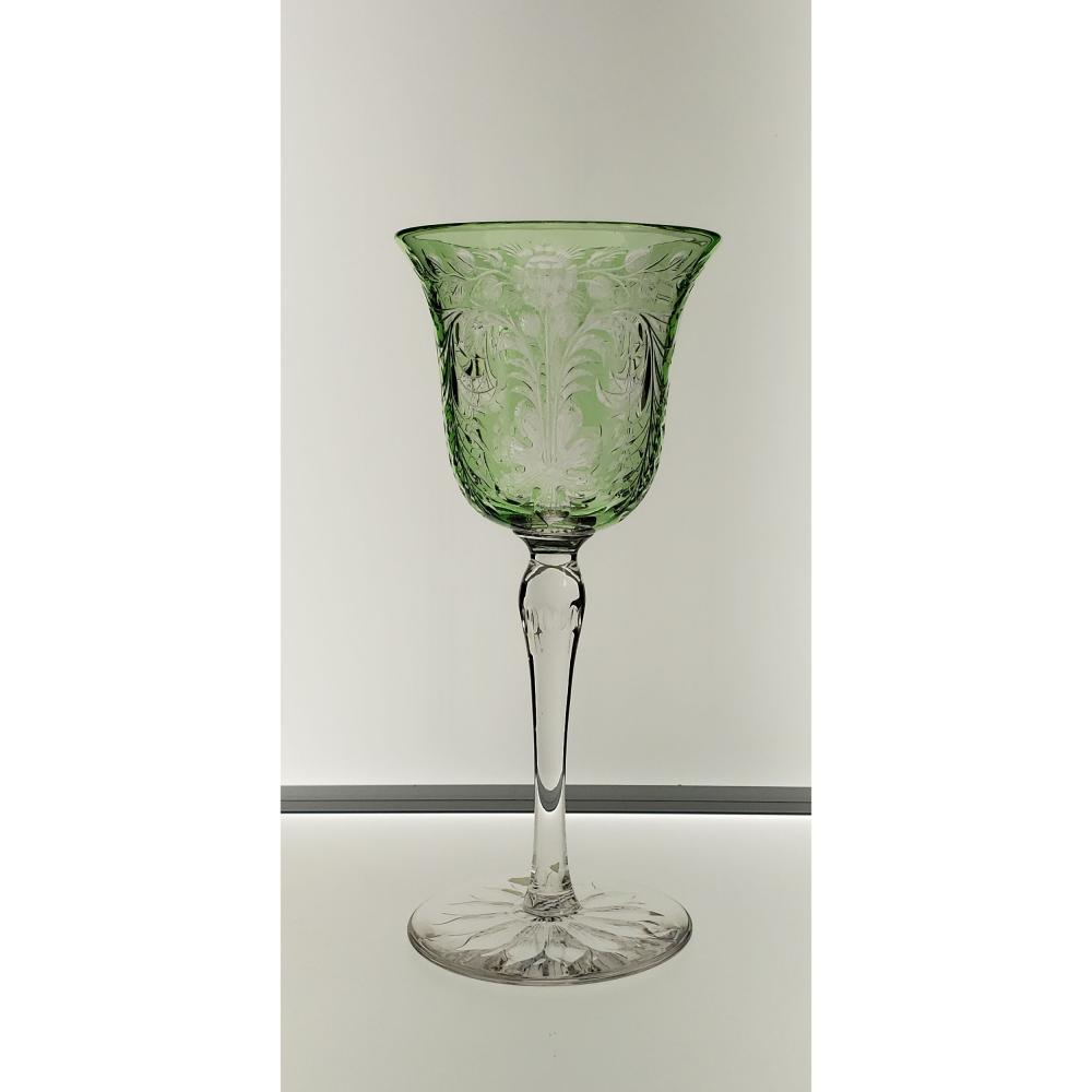 ABP Green To Clear Tall Wine Rock Crystal Signed Hawkes Polished Engraved
