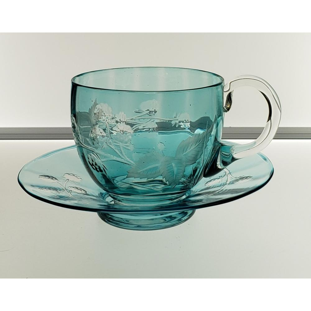 American Brilliant Pd Turquoise Cup& Saucer Engraved