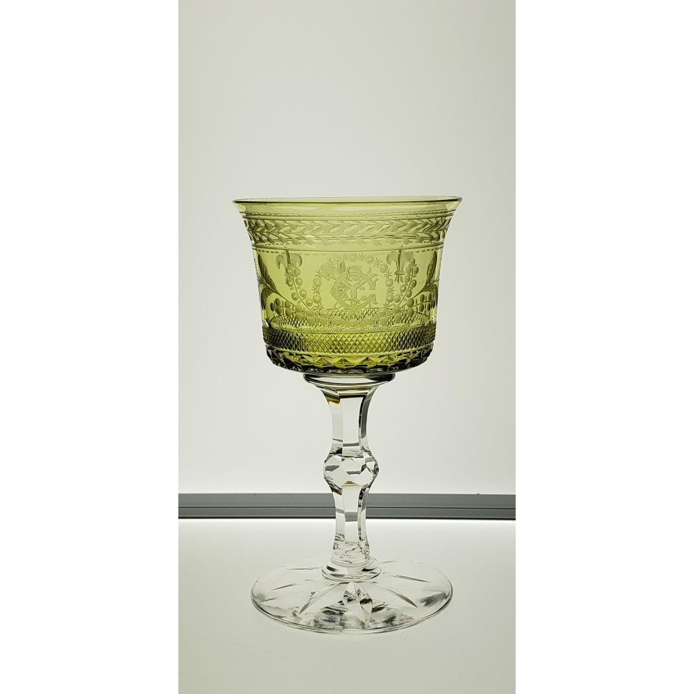 Rare American Brilliant Period Hawkes LOUIS XIV Stem , amber/green