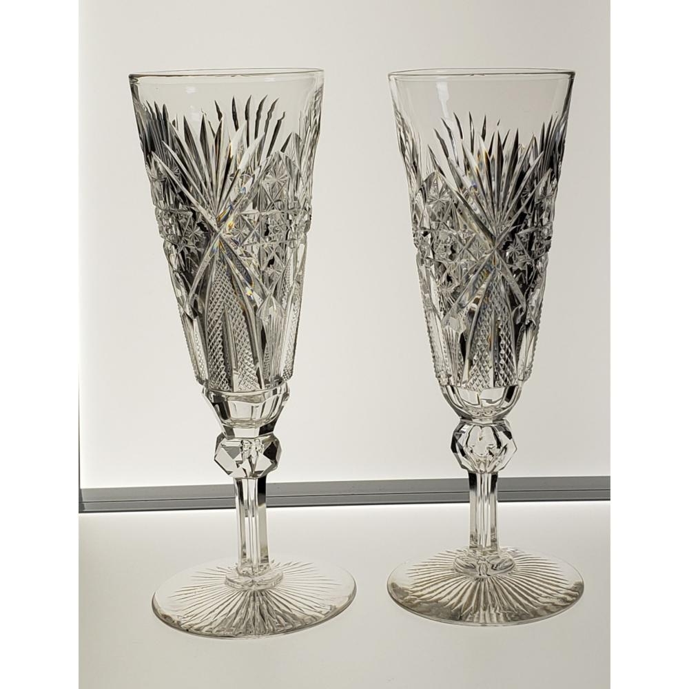 2 American Brilliant Period Hawkes Champagne Flutes Venetian Pattern