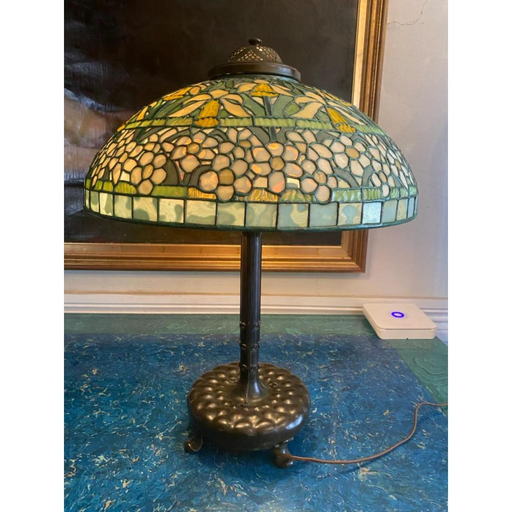 RARE SIGNED TIFFANY STUDIO NY JONQUIL DAFFODIL LAMP