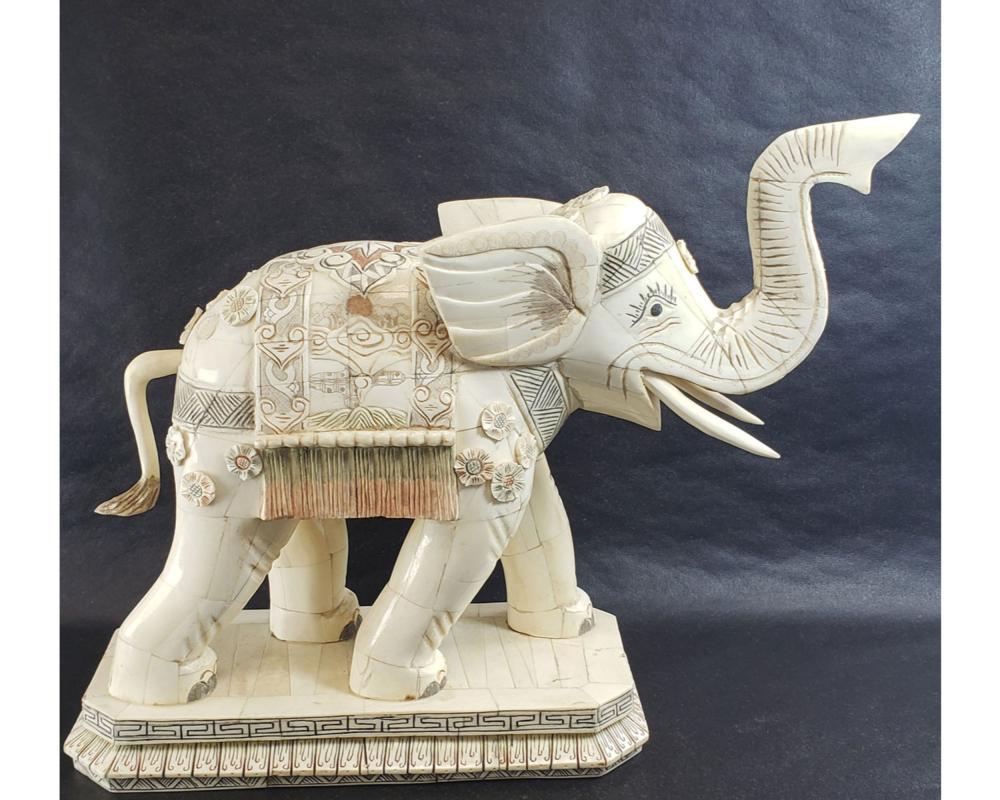 Vintage Carved Chinese Bone Elephant Signed