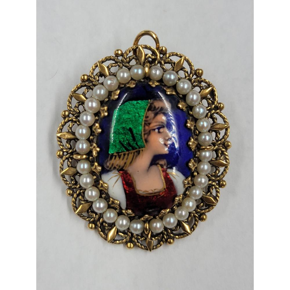 14K GOLD FRENCH ENAMEL PORTRAIT WITH PEARLS