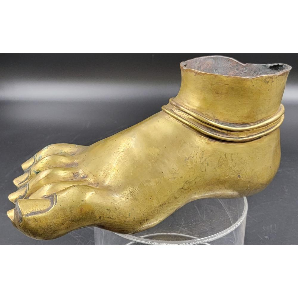 A CHINESE GILT BRONZE BUDDHA FOOT POSSIBLE 18TH C