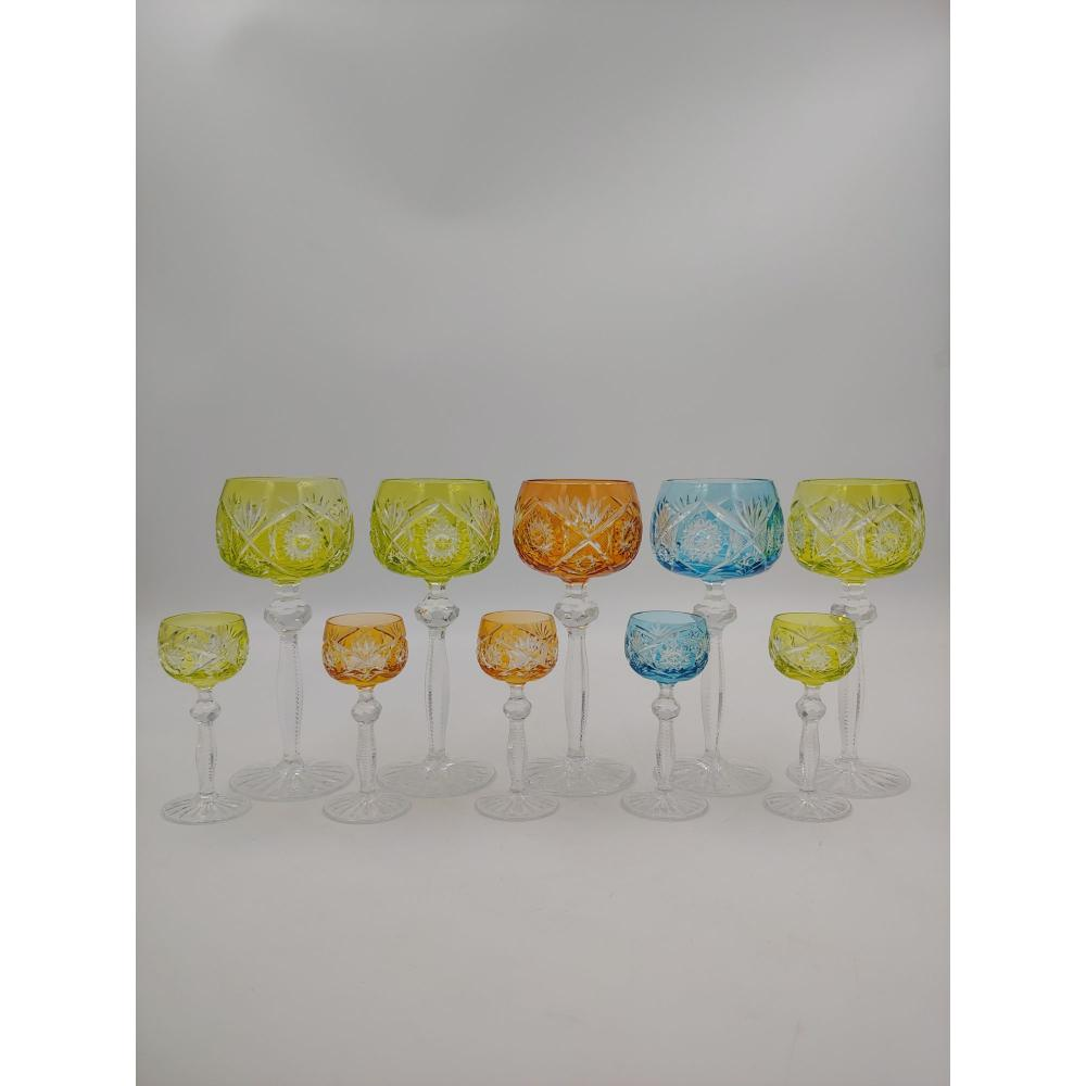 LOT OF 10 BOHEMIAN CUT TO CLEAR COLORED GOBLETS