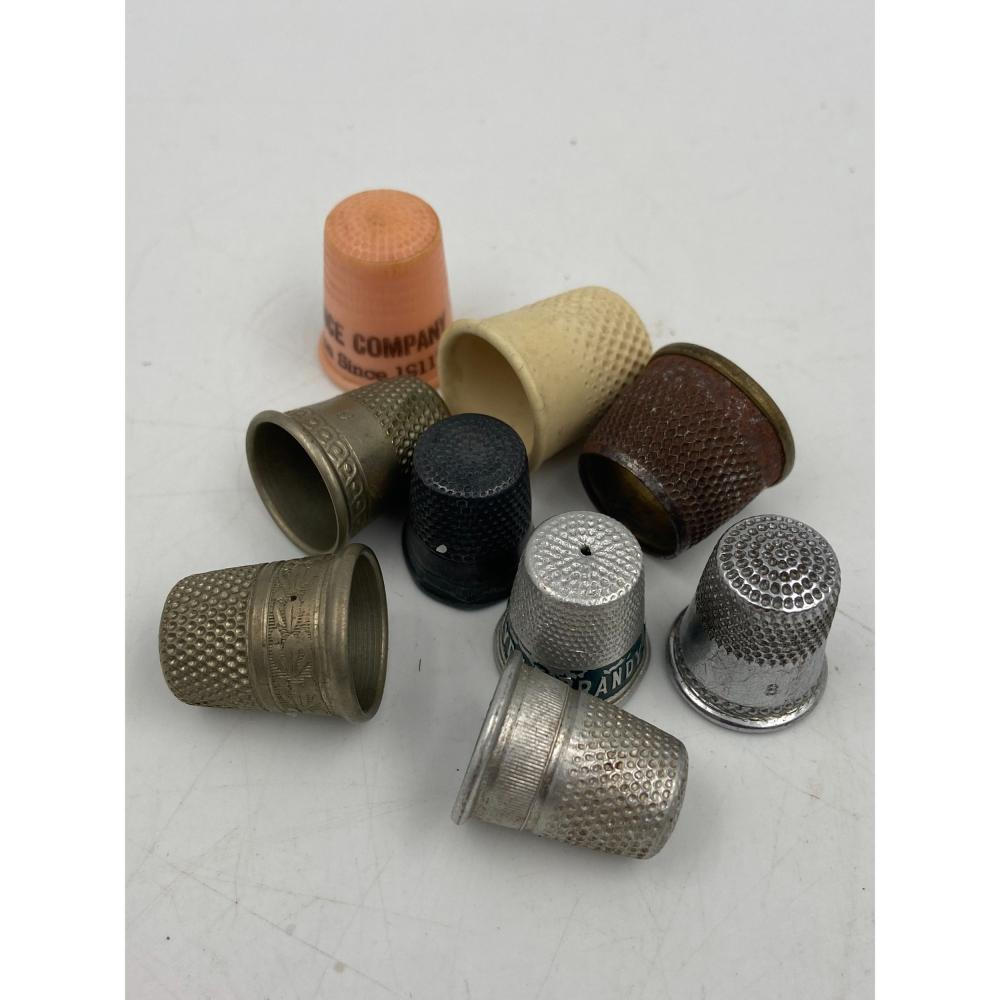 COLLECTION OF ANTIQUE AND VINTAGE SEWING THIMBLES