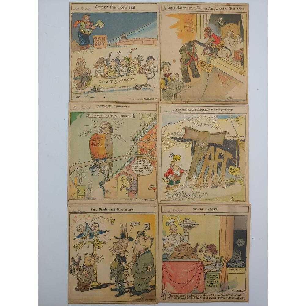 LOT OF 37 1948 POLITICAL CARTOON NEWSPAPER CLIPPINGS