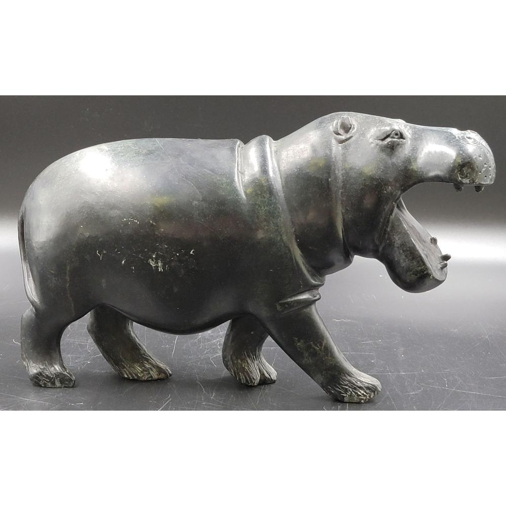 LARGE SIGNED AFRICAN VERDITE STONE SCULPTURE OF A HIPPO