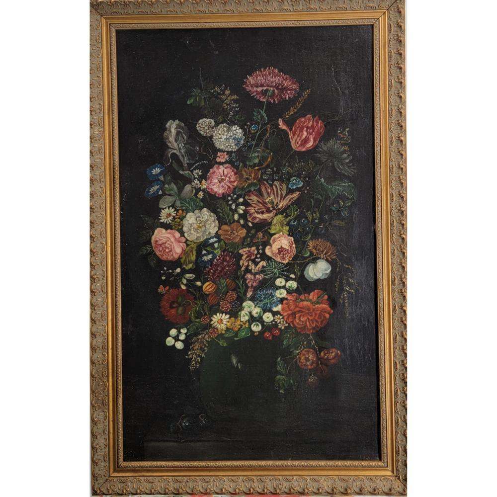 RE-LINED 19TH C O/C STILL LIFE PAINTING SIGNED