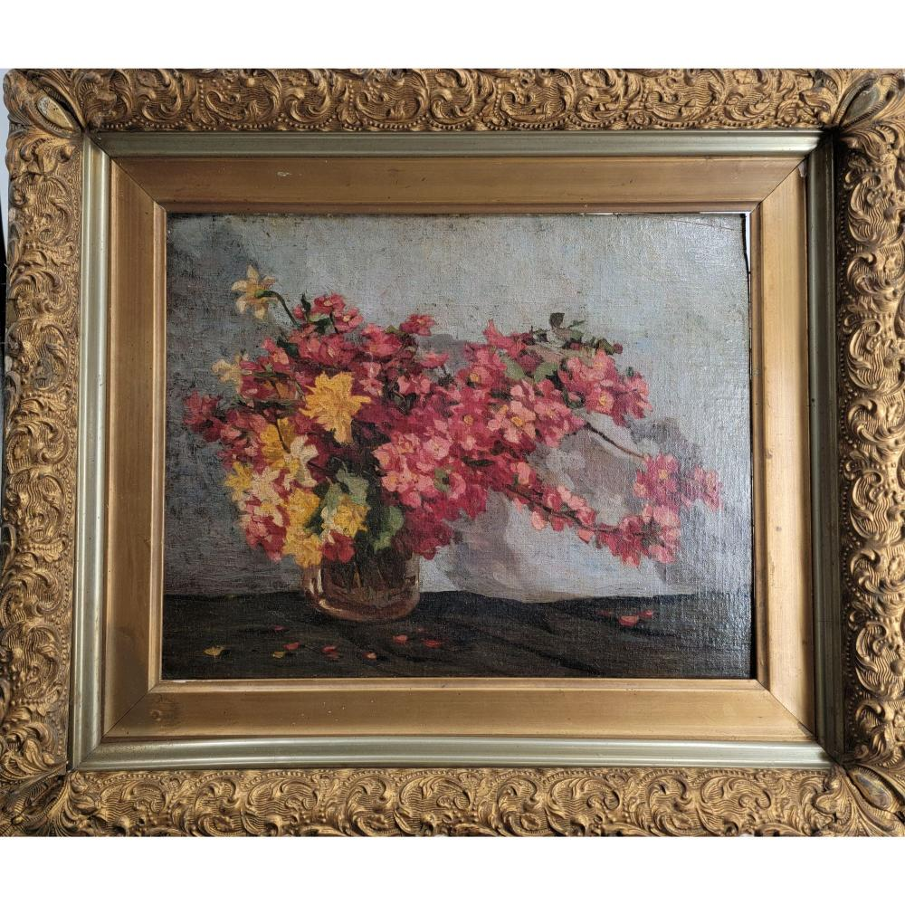 ANTIQUE STILL LIFE PAINTING CANVAS LAID ON BOARD 19TH C