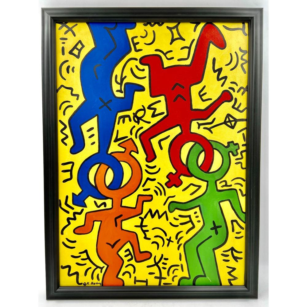 KEITH HARING PAINTING OIL CANVAS - ATTRIBUTED ARTWORK