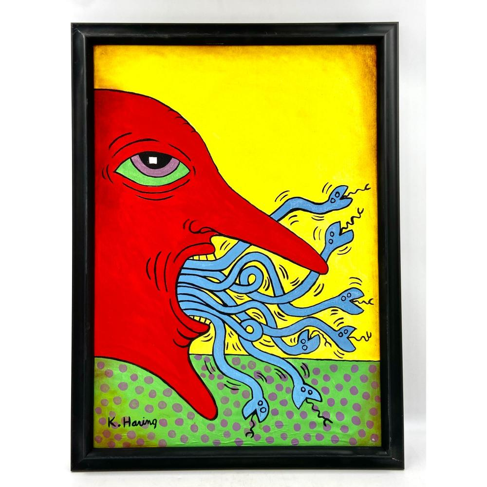 KEITH HARING (OIL ON CANVAS) IN THE STYLE OF