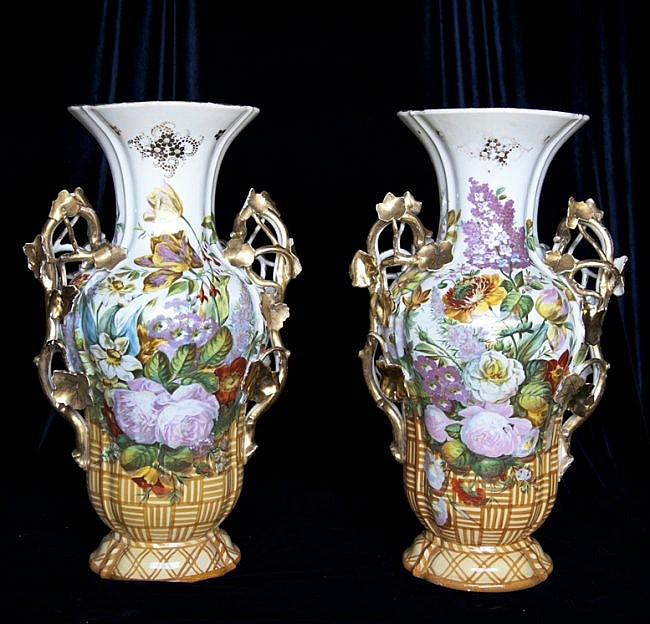 52: (Pair) 19th Century Floral and Gilt Vases