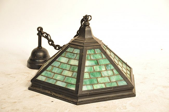 32: Hanging Leaded Glass Lamp
