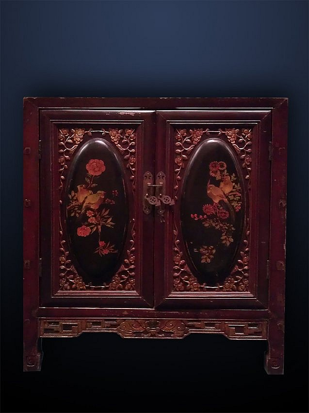 Asian Carved and Decorated Two-Door Cabinet