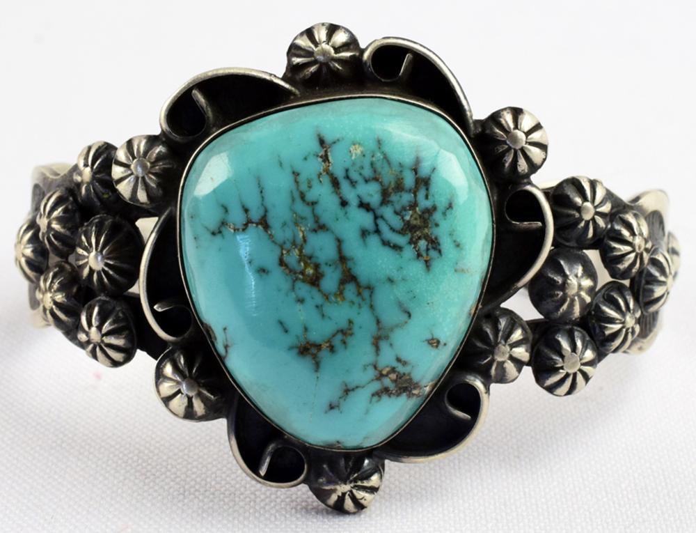 Navajo Sterling Turquoise Bracelet w/Star Conchos