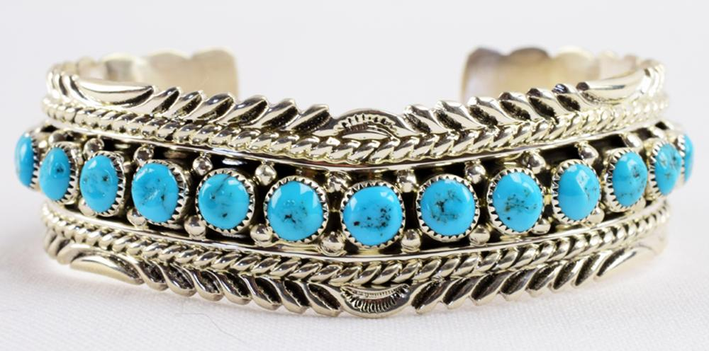 Native American Sterling Turquoise Cheveron Bracelet