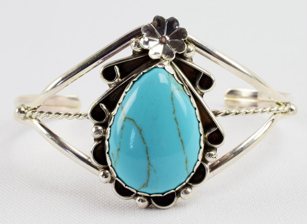 Native American Sterling Turquoise {Howlite} Bracelet