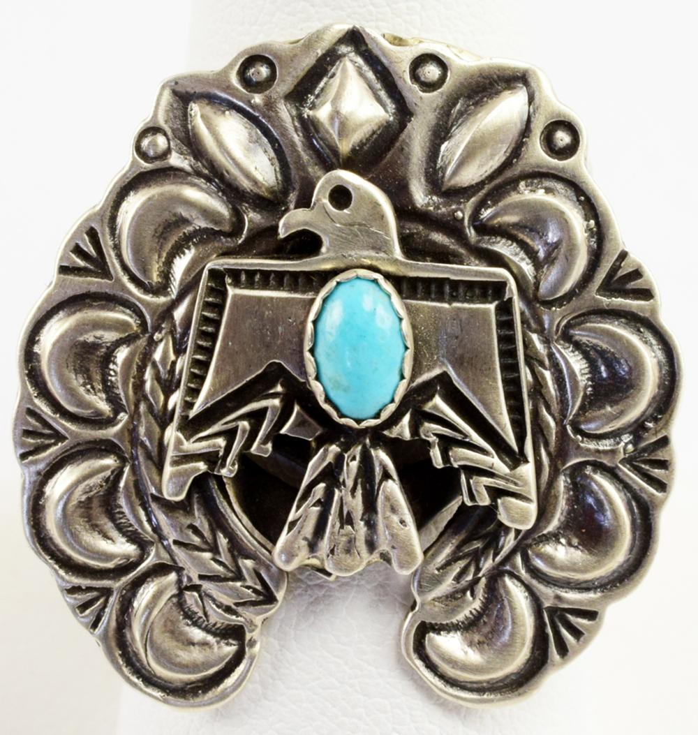 Navajo, E. Richards, Sterling Thunderbird Ring W/Turq.