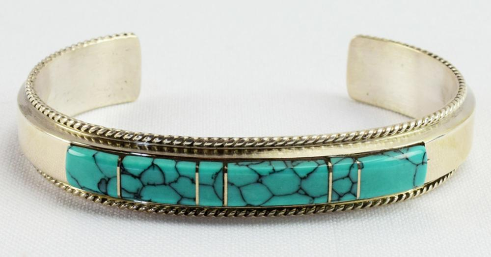 Native American Sterling Inlay Turquoise Bracelet