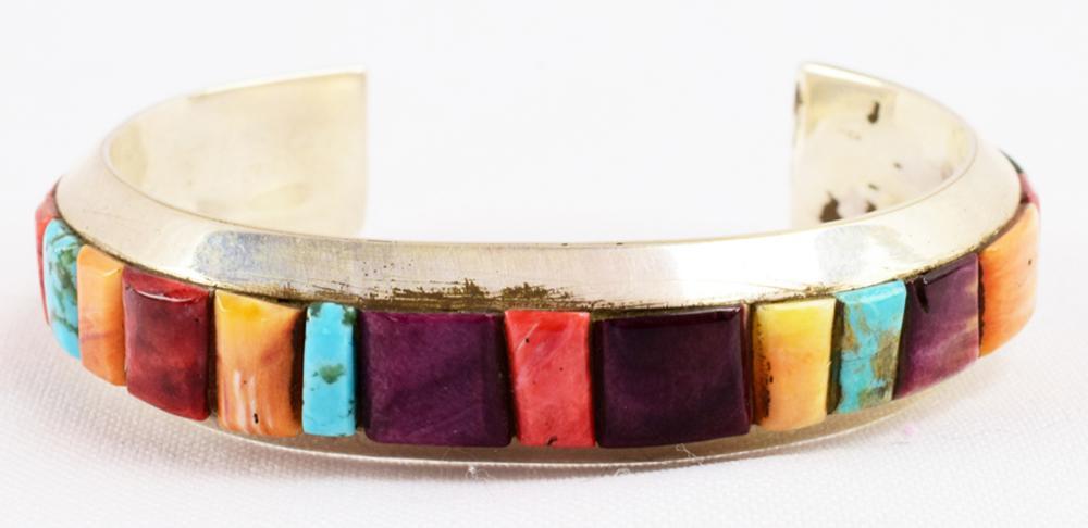 Ed Chischilly Multi Stone Inlay Sterling Bracelet