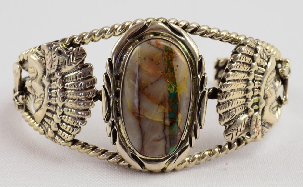 Navajo Vintage Boulder Turquoise Indian Chief Cuff