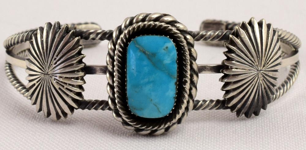 Navajo Daniel Benally Sterling Turquoise Concho Cuff
