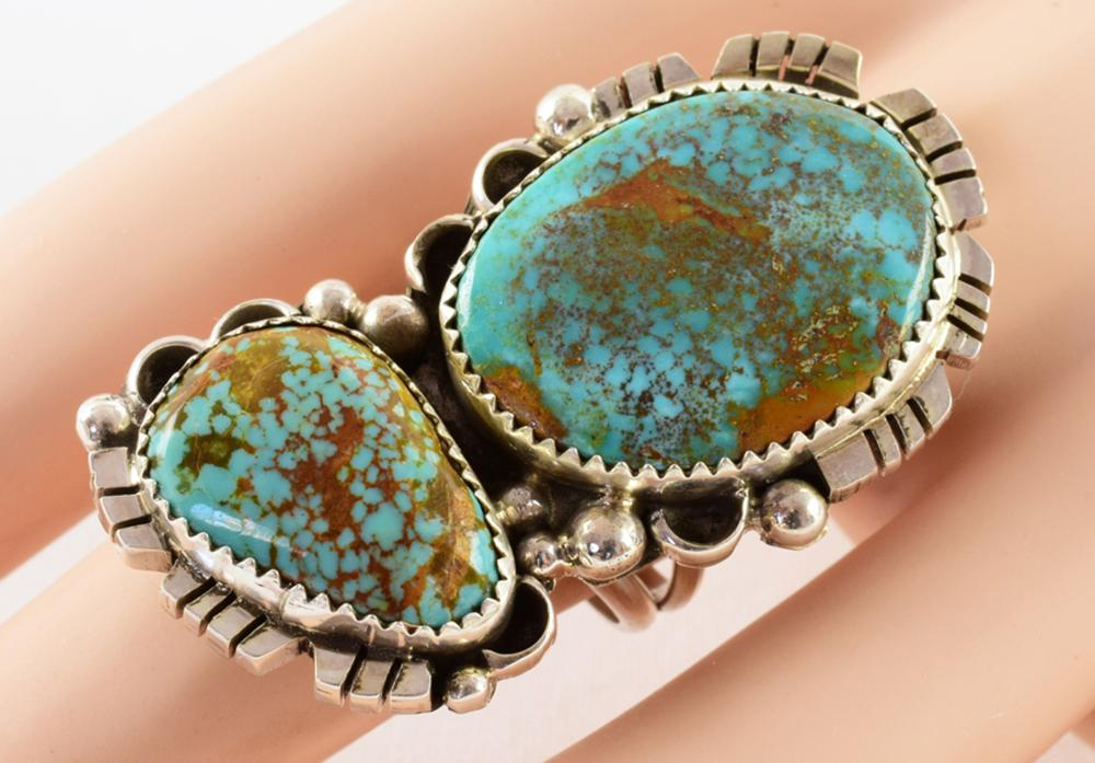 Vintage Navajo Sterling Natural Turquoise 2 Stone Ring