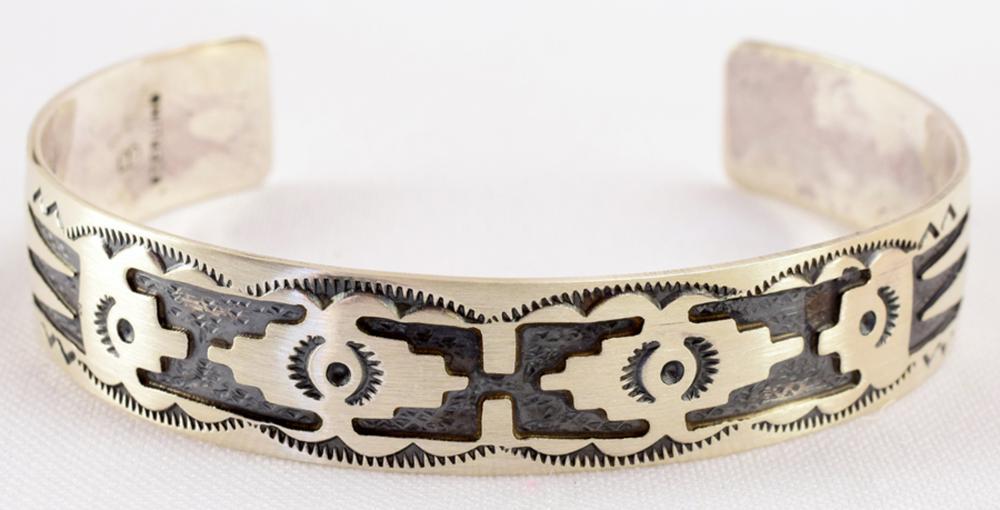 Native American Sterling Overlay Cuff Bracelet
