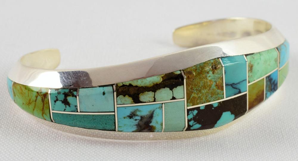 Keevin Keyanna Sterling Inlay Turquoise Bracelet