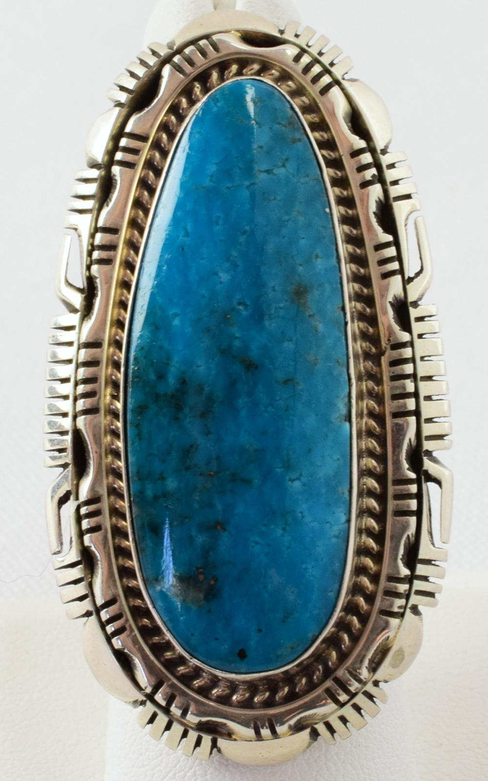 Sterling Lone Mountain Turquoise Ring by Robert Shakey