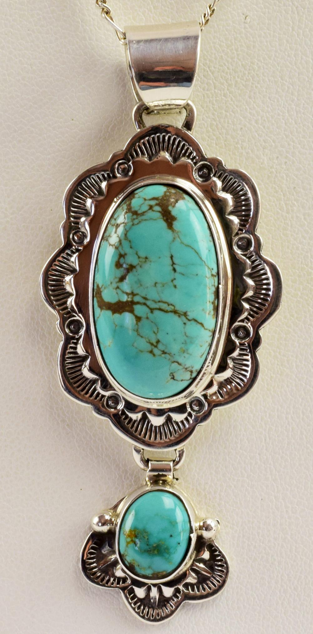 Native American Sterling Natural Turquoise Pendant