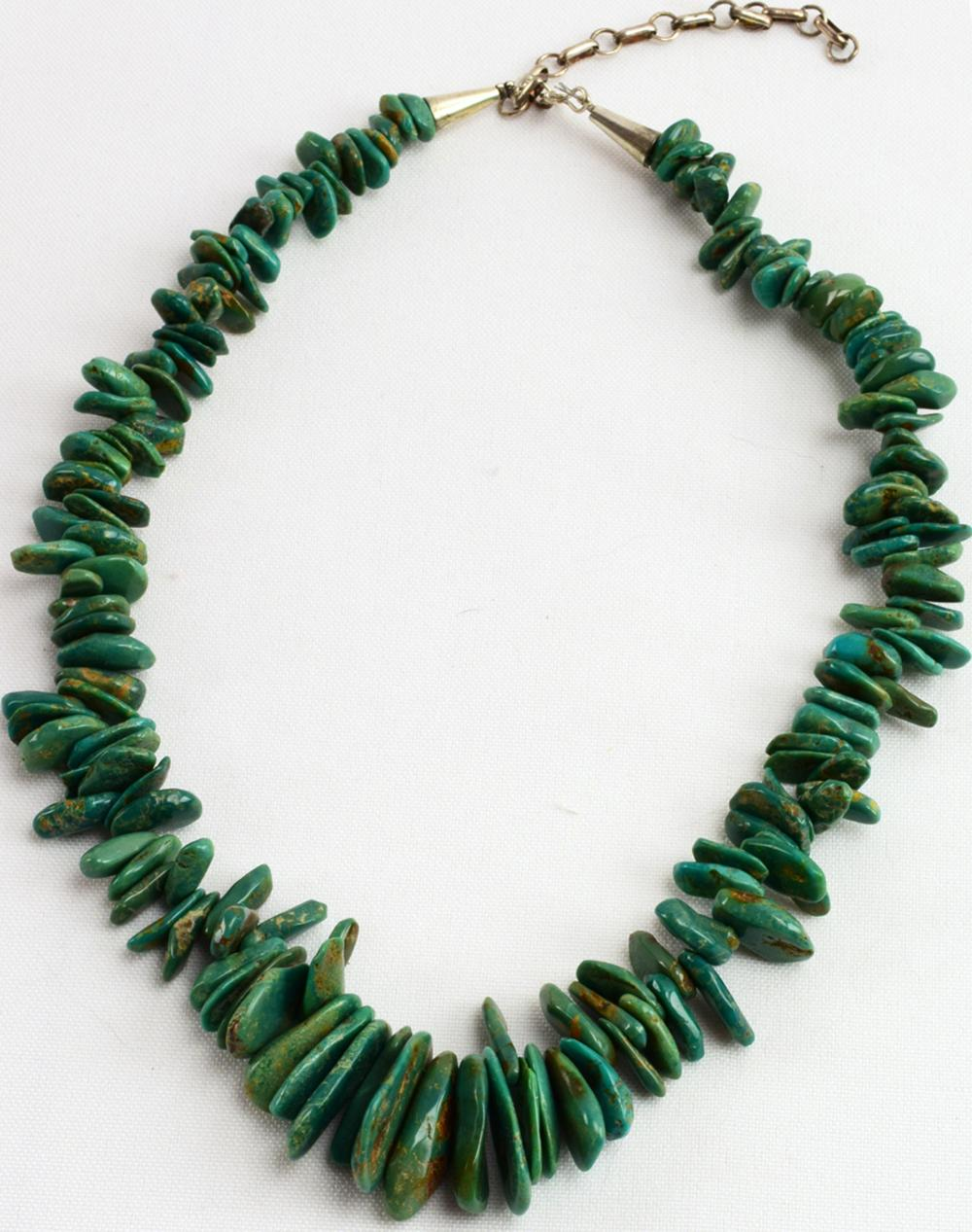 Navajo Vintage Turquoise Flag Necklace
