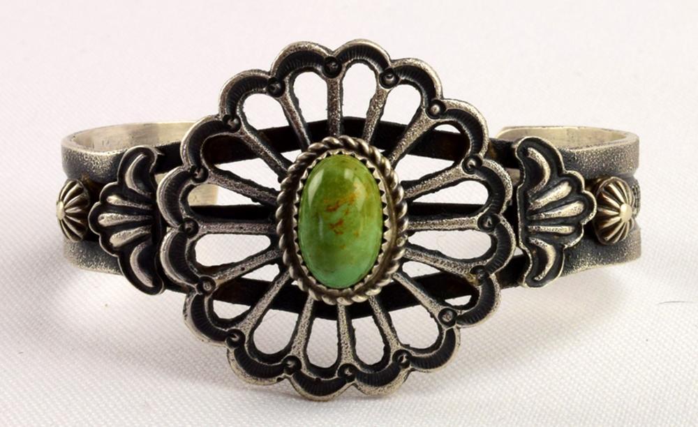 Navajo Sterling Flower Bracelet by Kevin Billah