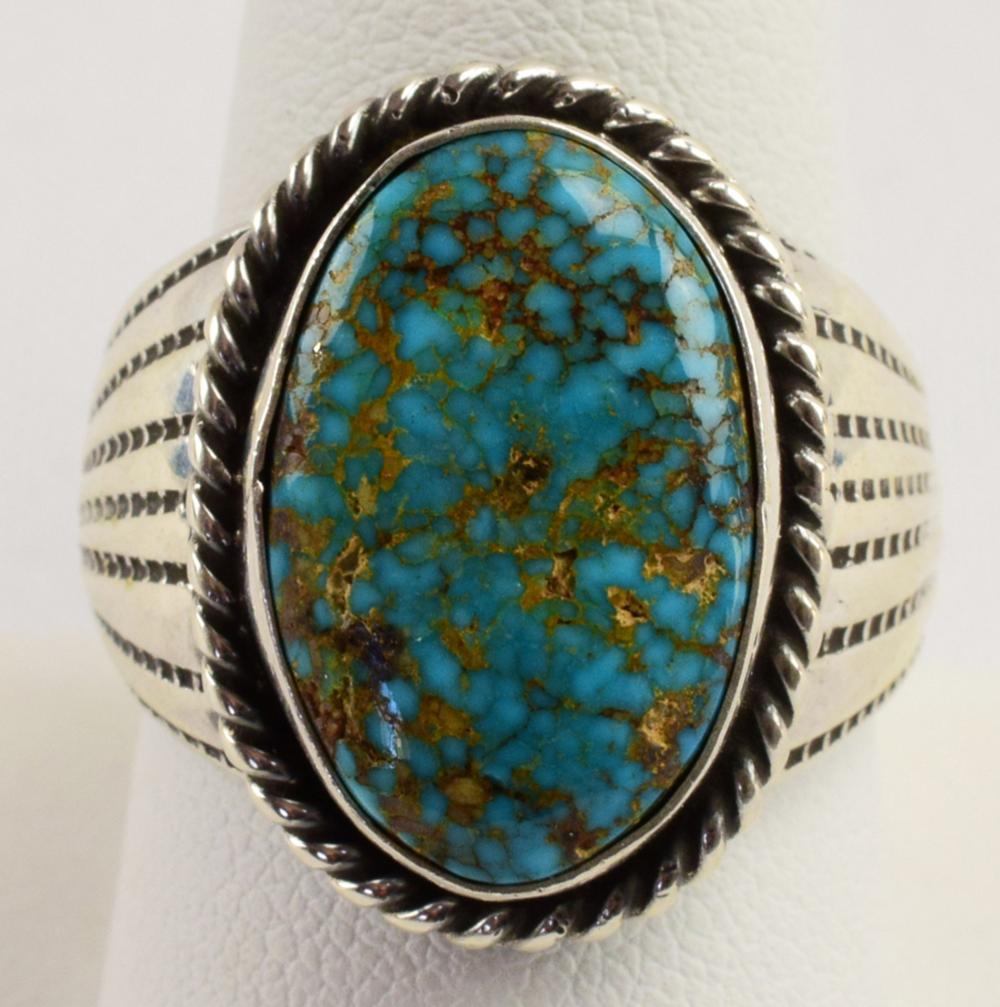 Navajo Sterling Vintage Oval Turquoise Men's Ring