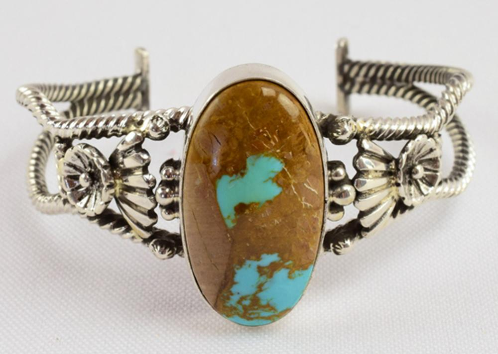 Navajo, E. Richards Sterling Turquoise Cuff Bracelet