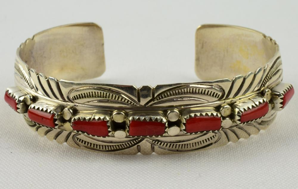 Navajo Sterling Silver Cuff with Coral