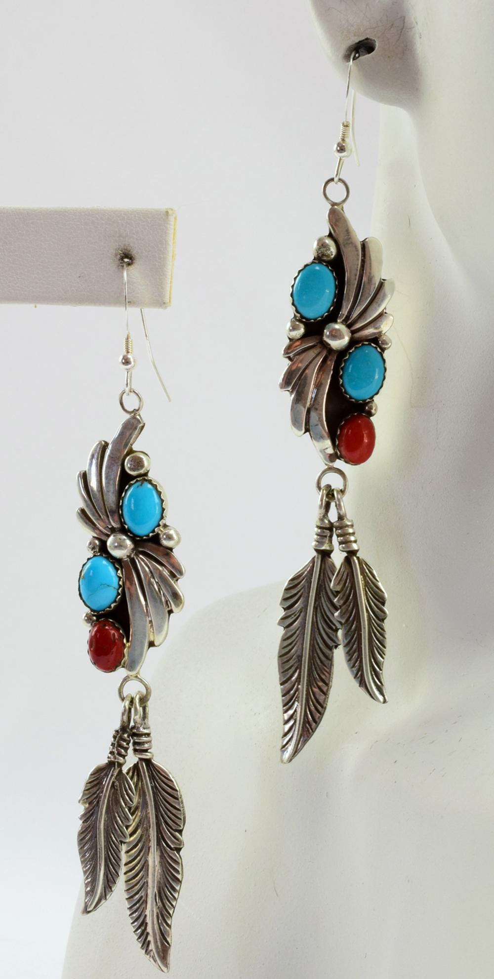 J. Emerson Sterling Turquoise & Coral Feather Earrings