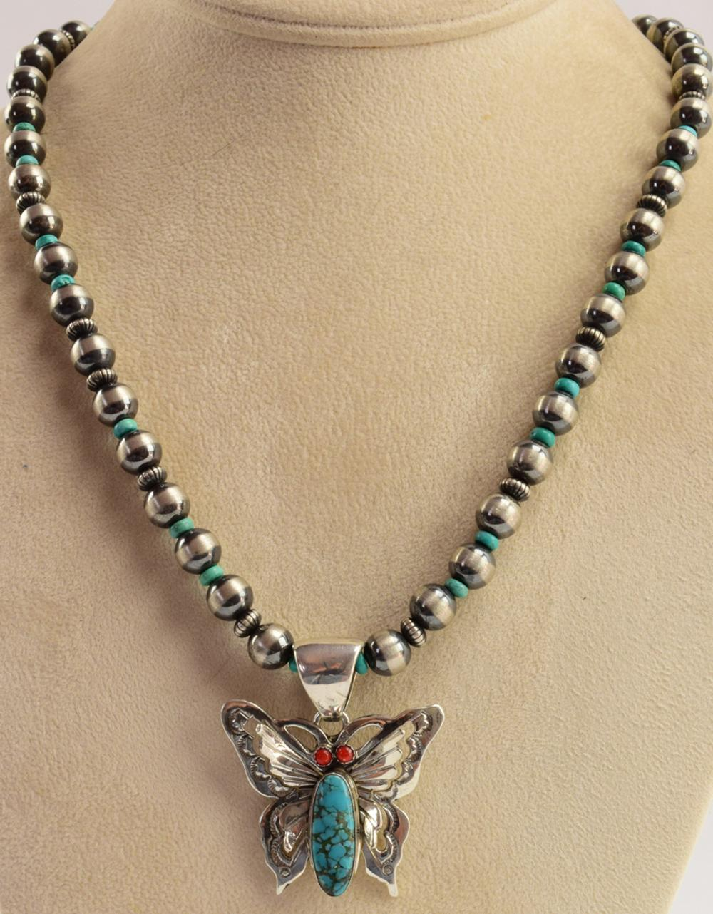 Russell Sam  Turquoise & Coral Butterfly Necklace